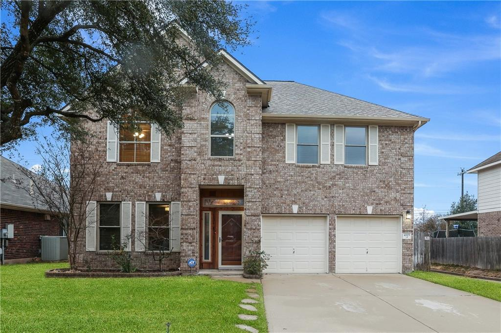 In the desirable Vista Oaks community of Round Rock is this stunning 4 bedroom, 2.5 bathroom home. Living is made easy in this expansive open layout that includes a spacious dining room, a chef-grade kitchen, a breakfast area overlooking the outdoor patio, and a welcoming living room, complete with a cozy brick fireplace. The kitchen is a chef's dream come true with stainless steel GE appliances, a gas stove-top, a walk-in pantry, granite countertops, a middle island, and ample counter space. The upstairs features a bonus living room, a sizable primary bedroom with a spa-like en-suite bathroom, a laundry room, 3 additional bedrooms, and a bathroom. Neighborhood amenities include a pool, Greenbelt walking trails, sports courts, parks, a covered Pavilion, a meeting room, and a kitchen. Enjoy easy access to I35 and 183.