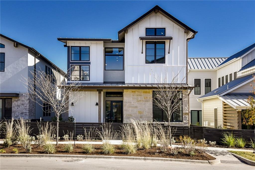Exceptional new construction in The Grove. This light filled, free standing home is ready for move-in! Over $150,000 in upgrades include amazing selections of tile, counters, wood floors, built-ins, glass railing and so much more. Enter into a large, open concept family room and kitchen that look out to the covered terrace and courtyard. A private master suite and additional bedroom are on the main floor with 3 beds, 2 bathrooms and a huge game room up. There is a separate garage apartment that features a full kitchen, open family room and private bedroom. This new community in Central Austin is walkable to restaurants & shops and is minutes from Downtown.