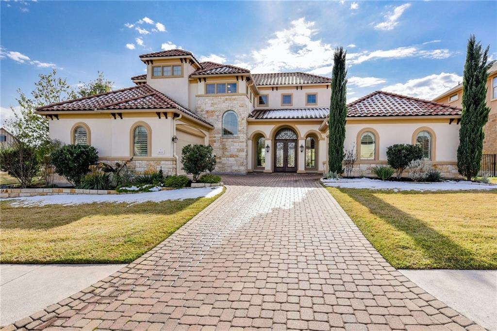 Gorgeous Mediterranean style home located in the exclusive-gated section of Teravista. This oversized, interior, corner lot backs to panoramic pond views with relaxing water features and the Teravista golf course is adjacent. This open floor plan home has 4 bedrooms, media room/office/5th bedroom, 3 full baths, soaring ceilings, gourmet kitchen, spacious open flex space upstairs, large covered patio, private guest suite downstairs and a 3-car garage. Primary bath has massive walk in closet, walk in shower, dual vanities and jetted tub. Two upstairs bedrooms have Jack & Jill bath. Abundance of natural light with window shutters throughout and automatic drapes in sun room, overlooking the tranquil pond and waterfall feature.