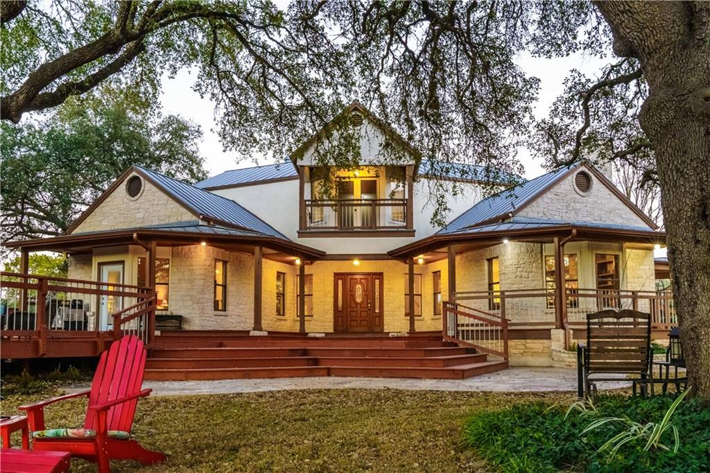 """Beautiful 3 bed 2 1/2 bath house located on 7+/- improved acres where 6.5 acres is Ag exempt for lower taxes.  One side of property is bordered by wet weather creek.  Five minutes to dining, shops, and breweries in downtown Salado. Enjoy entertaining on the enormous front deck under the numerous century oaks that are scattered throughout the property to provide shade for those hot summer days. 5' tall 4""""x2"""" tri-rail fencing surrounds the property along with cross fencing to separate the livestock. Underground electrical and water is provided to all outbuildings that includes a 30' X 40' horse barn equipped with a 30' X 10' shop, a 12' X 24' metal shelter, and a 30' X 20' livestock shelter with a 85' X 45' gated corral.  There are improved roads that provide ATV/UTV/tractor access to the entire property.  Bring your horses, cattle, and sheep to this ready to go property.  Spacious primary bedroom on the main level with his and hers closets.  Primary bath has double vanities along with walk-in shower and soaking tub. The beautiful living area with wood burning fireplace is a great place to convene during our Texas winters.  The house provides a large pantry and laundry room along with a spacious kitchen and dining room which has a built-in buffet area with extensive cabinets.  Upstairs their are two large guest bedrooms with a Jack and Jill bath in between along with a common area that has access to a balcony that overlooks the deck and pastures.   Don't miss out on this one of a kind property in the Beautiful town of Salado.  Centrally located with Austin only 40 minutes away, San Antonio 2 hours away, Houston 3 hours, and Dallas 2 hours!"""