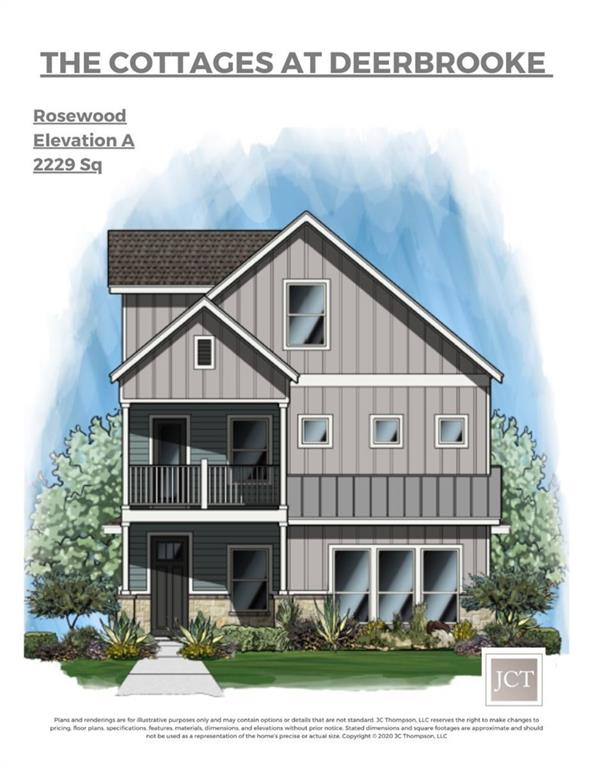 The Rosewood A Plan with 3BR, 2.5BA and a 468sf 3rd floor bonus room. 9 Additional lots to build on with plans ranging from 1899sf to 2428sf to choose from. This 17 home community is centered around a common, wooded greenspace and endears its residents with a tightknit community feel while offering master-planned development amenities. The builder, JC Thompson Construction's philosophy is simple: premium features are included as standard. There is no reason to waste time at a Design Center, the homes already have it all. Elegant, tasteful, and functional each of the homes are thoughtfully designed with stylish and timeless finishes. Energy-efficient throughout and beautifully crafted, these cottages are well-appointed and sensibly priced. Come home to an exceptional quality of life. This community is located in a PID.