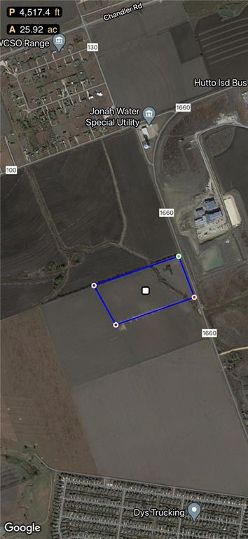 LOCATION! LOCATION! LOCATION! Fully AG EXEMPTED 26+/- ACRES available now! Easy access to Chandler Rd and Toll 130 as well as Hutto Schools. Property is currently farmed and in row crop production which can be continued if desired. Pretty piece of country with awesome views and great potential. Lots of opportunities and would make a great investment property.  Property is being sold UNRESTRICTED.