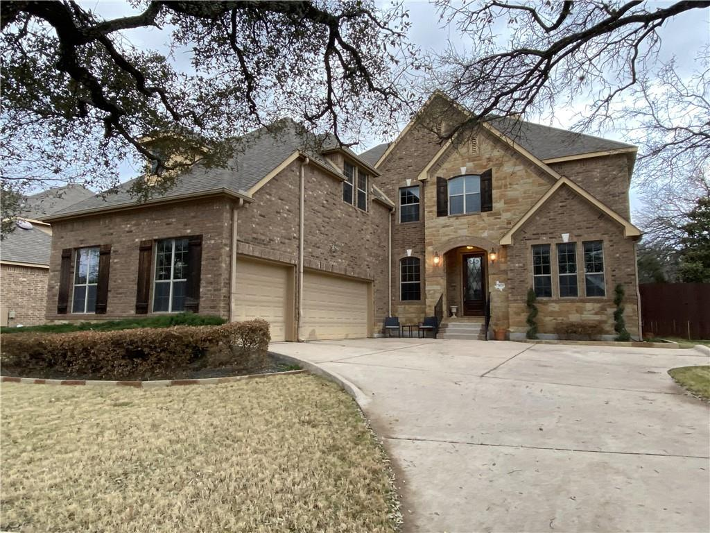 THE BEST FIND AT WALSH RANCH! 4 Bedroom (master down), 3 1/2 baths, 3 car garage. 3658 SF (WCAD) built in 2009 by Drees (Bridgeton V plan). Beautiful .231 acre lot that backs to walking trails, automatic sprinkler system with 10,000 gallon in-ground pool w/ tanning ledge, waterfall & spa, fire pit, extensive stone pool decking/patio area - an outdoor lover's paradise! Also included covered rear patio with outdoor kitchen w/ BBQ grill, refrigerator, sink as well as outdoor shower! Brick veneer exterior with stone accents. Front yard with long driveway and big oak trees provide for ample space for gatherings of friends and family! Welcoming entry with two-story ceilings, wrought iron balusters and wood floor stairs, tile flooring extending into family, formal dining, kitchen, breakfast. Private study off entry w/ French doors, hardwood flooring, crown molding and plantation shutters. Large family room with gas logs fireplace. Plantation shutters throughout first floor! Private owner's suite with upgraded flooring, en-suite bath featuring two separate vanities, jetted tub, walk-in shower and closet. Spacious, brand-new ALL WHITE kitchen with center island, breakfast area, ZLINE stainless appliances including double ovens, microwave, 8 burner gas cooktop, vent hood. Amazing Calacatta marble countertops and backsplash! Formal dining with chair rail, crown molding. Upstairs: spacious game room and media room! 3 large bedrooms and 2 full baths; one is Jack-n-Jill. Improvements: in-ground pool, spa, decking, outdoor kitchen & shower (2011), new fencing (2015), garage safe racks & epoxy floor (2016), upgraded flooring at master bedroom and closet (2017), new lighting and accent wall at office (2019), brand new kitchen remodel (2020), many landscaping improvements: palisades-zoysia grass in front yard, flower beds, stone decking and fire pit (2020). Highly rated Cactus Ranch ES, Walsh MS, Round Rock HS. Amenities: community pool, play ground, picnic area, walking trails.
