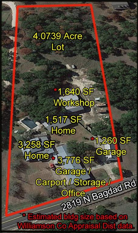 Large, 4.7 acre Lot.  Multiple garages / workshops.  Ideal for Car Collectors. In ground Swimming Pool and Spa.  Deep Well with Constant Pressure System.  City of Leander water line at property frontage.  Screened in Porch on back of second story main house.  Wood burning stove for heating House.  Wood beams in living room.