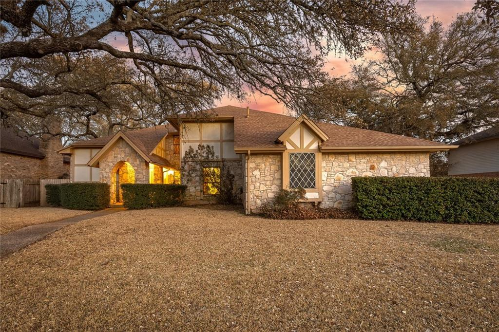Lovingly maintained Jack Kirby tudor home in Balcones Village on quiet street. Stately oak canopy frames the cottage-like front entry. Sparkling pool offers a place to unwind and cool off in the Texas summer heat. Walking distance to Spicewood Elementarty and zoned to acclaimed Canyon Vista Middle and Westwood High. Two-car, side-entry garage plus bonus golf cart garage/workshop with window AC unit. Gorgeous wood paneling and cabinetry throughout. Finish updating where the Sellers left off and put your personal touch on the home! Special financing available. Complimentary 6-month Balcones Country Club social membership to Buyer.