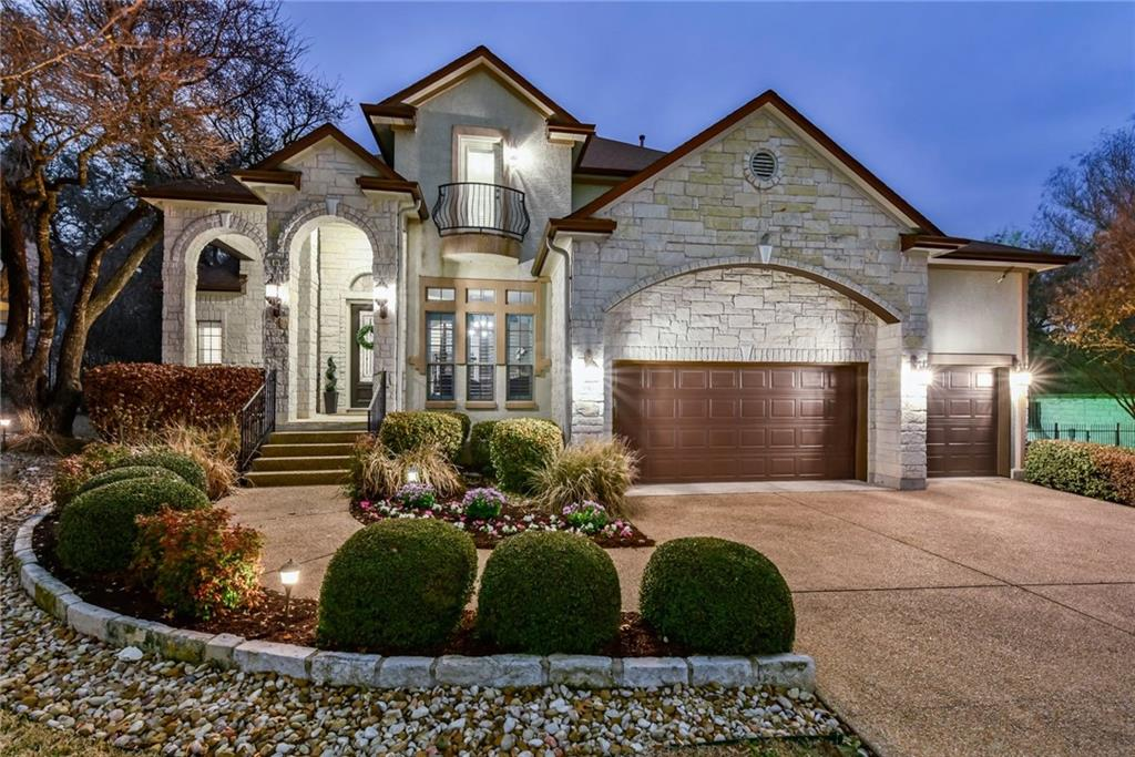 Open House Saturday, March 6th, 12:00-3:00.   Spicewood at Bullcreek! This stunning home features 5 bedrooms and 4 full baths, designated study, upstairs enclosed game area/flex room. Approx 3,480 sqft (tax record). 2 full bedrooms and bathrooms downstairs. Spacious primary bedroom. Very open concept, gorgeous kitchen (fully updated in 2020), Quartz countertops, beautiful hardwood and tile floors. 10-ft sliding wood doors open-up to covered patio with fireplace and outdoor kitchen area, pool, and outdoor sport court. 3-car garage. Limestone rock exterior. Over $200k in upgrades! Award winning schools – Spicewood Elem, Canyon Vista MS, and Westwood HS.