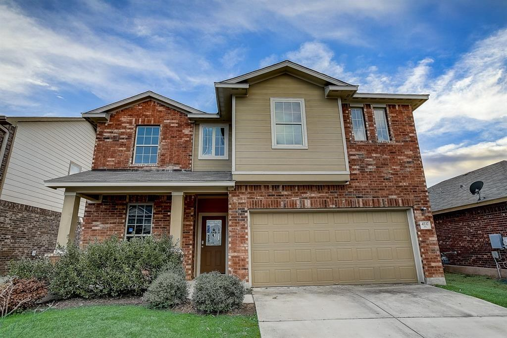 Built in 2012, this Pflugerville two-story cul-de-sac home offers a patio and a two-car garage.