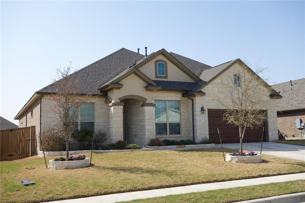Amazing home located in the highly desirable community of Mayfield Ranch.  This 5 bedroom 4.5 bath elegant home contains numerous upgrades and is a must see! Features include a MIL plan with associated bath on main level, a dedicated study with French doors and a secondary living/game room upstairs with a 5th bedroom & 4th bath. Expansive living area with a fireplace  which flows into a spacious kitchen with white cabinets, Quartz counters, beautiful back splash,  built-in SS appliances with a large island. Retreat to a primary bedroom and bath on main level with his & hers walk-in closets that have access to laundry room. Surround Sound in Living and upstairs. Extended covered patio overlooks a private yard. Enjoy the morning sun on your private patio and the shade from the hot summers in the evening.  Easy access to all major roads, shopping and dining. Enjoy hike and bike trails, parks and several pools within this great community! Buyer or Buyer's Agent to verify measurements, schools, & tax, etc.  Buyer to verify to schools.