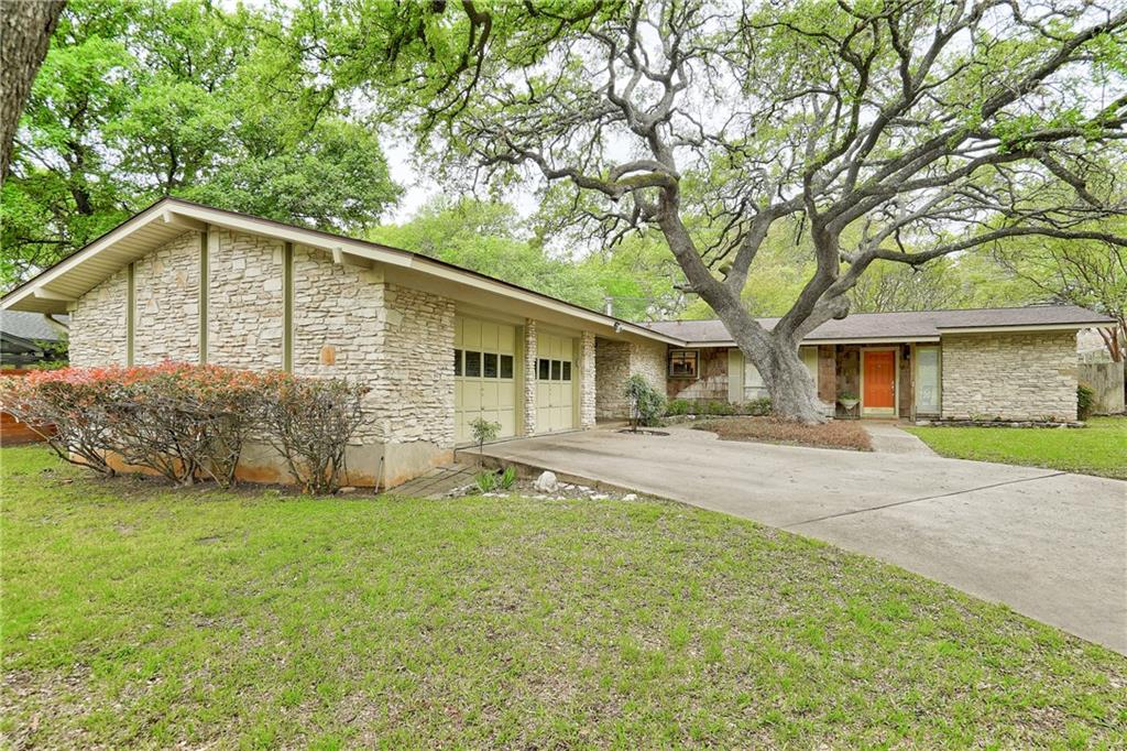 *Multiple offers received. Please submit all offers by Sunday 4/11 by 5pm CST* If you've been waiting for the perfect home in one of the best neighborhoods in Austin, look no further. This is your remodel or new construction opportunity and is not to be missed! Enjoy this Mid-Century Modern in the Westover Hills area of coveted Northwest Hills. 1,887 sf with 3 bedrooms + 2 full baths on a lovely, shaded .3258 acre lot. Galley kitchen w/ all very recent stainless steel appliances opens to spacious living area with a timeless stone hearth, gas fireplace, vaulted ceiling, floor-to-ceiling windows, built-in bookcases, and contemporary fixtures. The expansive second living area is the ultimate in versatility, for a home office, exercise studio or playroom.  Top-rated public schools (Hill Elementary, Murchison Middle, and Anderson High) + several private schools (St. Theresa's Catholic, Austin Jewish Academy, St. Matthew's Episcopal) are minutes away. Remodeled owner's suite + bathroom featuring newer vanity and step-in shower. Private, fenced backyard with beautiful oak trees and room for a pool. 2-car garage includes window unit air conditioner for keeping cool in the summer. So much potential for additional updating or expansion. Come see this fabulous home in Northwest Hills - home of the best 4th of July Parade!