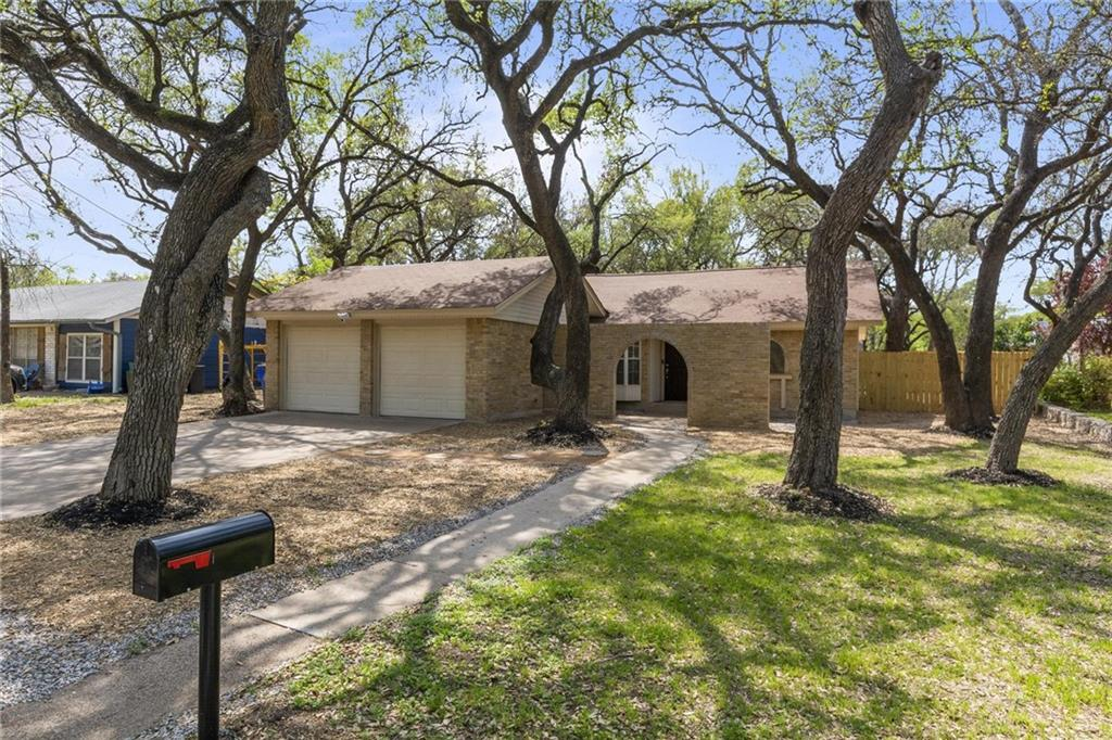 Thoughtfully renovated 1 story, 3/2.5 home on a huge treed lot in Riviera Springs (no HOA). Ideally located  near HEB, Lakeline Mall, & new Dell Childrens Hospital; easy access to 183, 183A & 45 Toll; 1.3 miles to Lakeline Park & Ride. Denny Park & McCann Park & Trail in walking distance; new Lakeline Park will be accessible from neighborhood.  RRISD zoned to acclaimed Westwood HS. Recent upgrades: windows, exterior doors, fencing w/dbl gate (wheels on gates), interior paint, laminate & tile floors (no carpet), recessed LED lighting, ceiling fans, range, dishwasher, microwave, cabinets, Jacuzzi jetted tubs & rock surround, vanities, toilets, half bath/laundry room added, barn doors on closets & pantry, electrical outlets (20 w/USB), switch plates, security cameras (w/SD option), Ring doorbell, Nest thermostat; French drains in backyard. Brand new SS refrigerator & stacked washer/dryer convey. WCAD does not include garage conversion by original owner (1672 sq. ft./Appraiser).   20.5' x 6' storage area behind garage doors will accommodate a motorcycle, bicycles, lawn equipment, etc. Double gate with large wheels allows access for parking of those grown-up toys (ATV, jet skis, small camper) in backyard area beside house.
