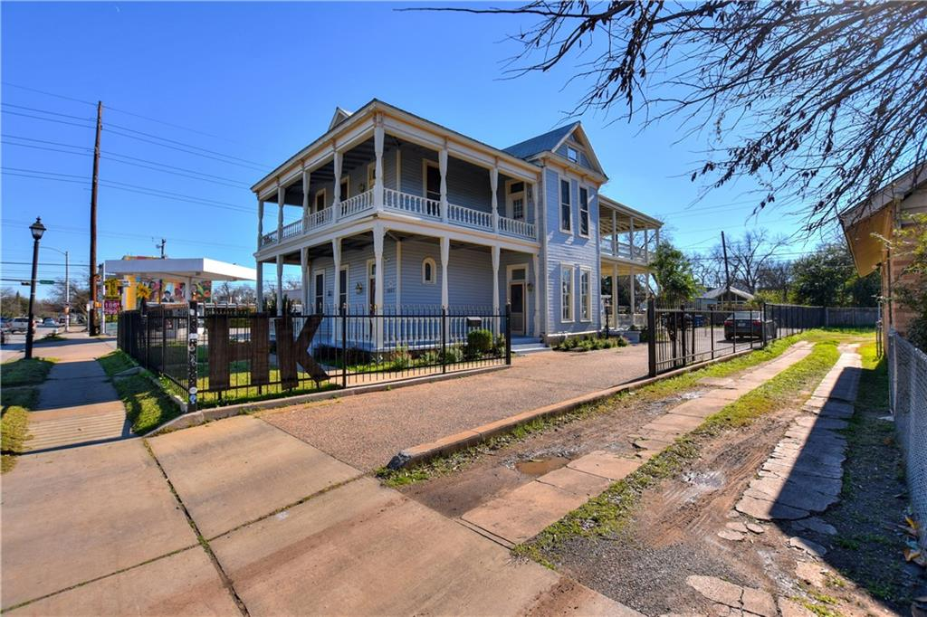 The BernerClarkMercado House, originally built in 1900 is a threestory historically designated home and commercial property in booming East Austin. The property has been meticulously maintained over the years in conjunction with assistance from Historic Landmark Commission. Original wood flooring spans both of the main floors and some rooms are appointed with original wood paneling and millwork. Ceiling heights on the first level range from 14'16' and on the 2nd story from 12' 14' creating a grand and expansive feel throughout. Both of the main levels have nearly 1,000 SF each of covered patio area. Tours by appointment only.