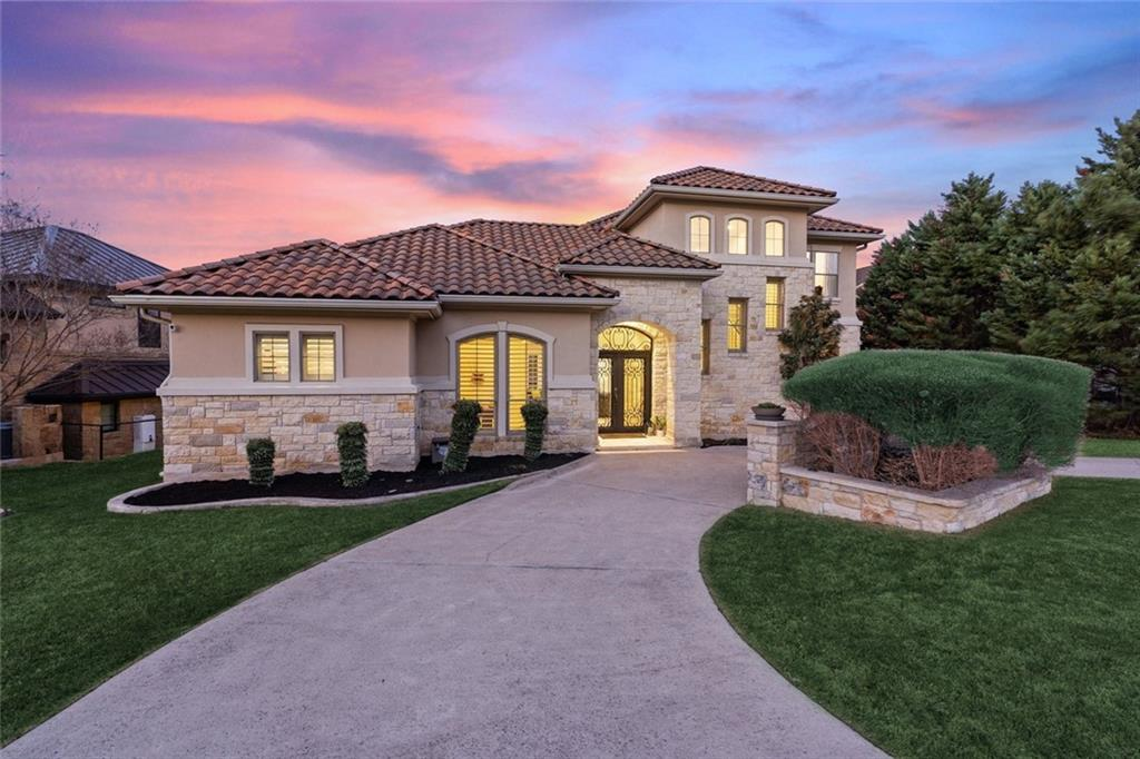 Enjoy exceptional golf course living in this impeccable Texas Tuscan Villa in the prestigious gated golf course community of the Hills of Lakeway! Follow the circular driveway and be amazed by this beauty on a gorgeous 0.28-acre lot. Enjoy the outdoors year-round with a property that's an entertainer's dream, featuring a large pool and cabana, outdoor kitchen and bar area. Manicured hedges complete the landscaping, which can be further modified with a stone wall for additional privacy. Gorgeous Cantera doors and a grand foyer welcome you to this two-story abode featuring an open floor plan with generously-sized living and dining areas, soaring ceilings and designer finishes throughout. The Chef's gourmet island kitchen opens to the family room - perfect for casual entertaining. Fabulous master suite on the main floor complete with dual vanities, relaxing garden tub, separate shower and his/hers walk-in closets. With quality and attention to detail around every corner, formal dining room, dedicated study and upstairs game room with stellar hill country views, this beautiful 4-bedroom home has everything you need to entertain in style and enjoy a comfortable daily living. The 3-car-garage entrance off the cul-de-sac in the back provides plenty of space for guests and owners. The resort-style golf community of The Hills is gated with 24-hour security. Take your golf cart to the park, enjoy a round on the exclusive Jack Nicklaus golf course, play a match at the nearby World of Tennis or dine at either of two country club restaurants within the gates. Exemplary Lake Travis ISD schools within walking distance with easy access to additional dining, shopping, boating, hiking trails and more! Visit http://bit.ly/37TheHills3D for a 3D virtual walkthrough. *Sellers are licensed REALTORS®.