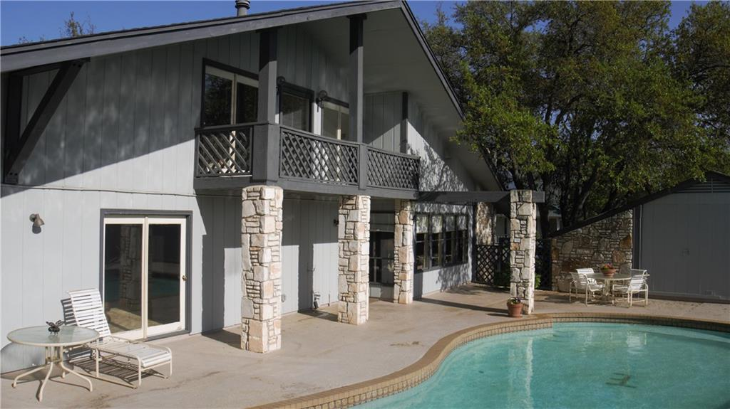 Pool, 5 bed, 2 bath on main level,  two living areas with kitchen open to one of them. Upstairs is large open game room, kitchenette, and bath.  deck off of rear of upper level overlooking pool, views of hill country and slight peek at lake. Right around corner from private property owners' waterfront park, half mile from lago vista golf course.  Fantastic opportunity