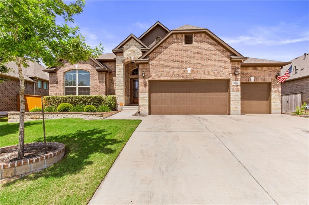Stunning one story with almost 3000 sq ft of living space and 3 car garage!   4 bed + study + game room + 3.5 bathrooms.  Perfect floor plan with separate MIL ensuite and lots of privacy.    Too many upgrades to list.  Only 4 years old, massive kitchen island for great entertaining, GE appliances (refrigerator does not convey), designer touches throughout like upgraded wood look tile, Roman shades, no carpet, spacious living room with elegant fireplace.   Stunning Owners suite with dual closets, an oversized shower with bench and separate soaking tub.  House comes with lightning protection, gutters, 2 water heater units,  sprinkler system, water softener and custom cabinetry in garage.  Spacious backyard with extended patio.  Energy efficient with LED lights throughout entire house and even custom holiday light exterior outlets.   Perfect backyard for those with a green thumb, house comes with  5 planters on the side of the house. Schedule your viewing soon!