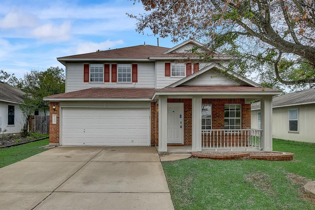 This Hutto two-story cul-de-sac home offers a two-car garage.