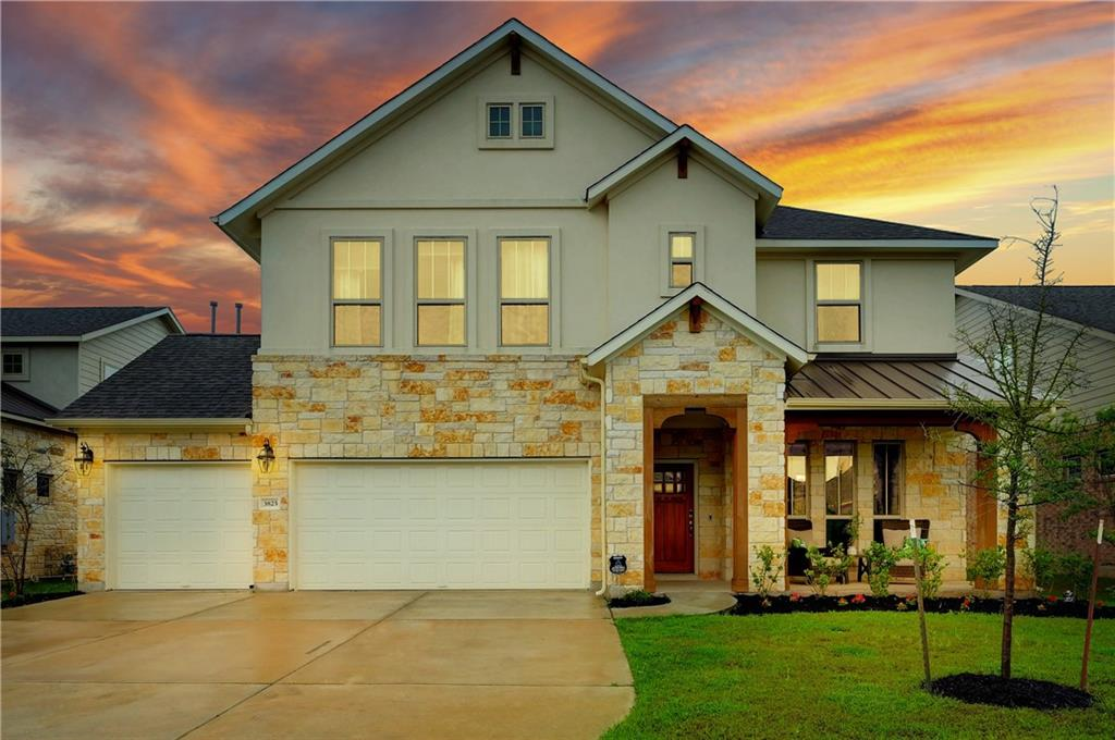 Gorgeous home in Blackhawk! Beyond the curb appeal, this home impresses inside with stylish finishes from stone tile flooring, architectural doorways and niches, elegant curved staircase, floor to ceiling stone fireplace and a wall of windows in the living room for lots of natural light. The kitchen has beautiful stained wood cabinets, marble counters and upgraded appliances. Google fiber wired with CAT6 cable. The open living/dining/kitchen area has great flow for entertaining friends and family, with a second bedroom on the main level for those guests that don't want to leave the party. The primary bedroom suite is spacious and has a spa-like bath with a relaxing garden tub and separate shower with seat. Off the kitchen is a large laundry room/mudroom with plenty of storage, leading to a 3 car garage. The second level has 3 more bedrooms, another living/game room and a separate media room for movie night! Home is prewired for sound and security system. Outside you'll find covered porches, both front and back, perfect spots to enjoy a cup of coffee or dine al fresco. Amenities include a community pool, hike and bike trail, volleyball, playground, park, lake and club house, as well as the Blackhawk Golf Club. The location provides easy access to downtown Austin, the Austin-Bergstrom International Airport, and major employment centers. This one has it all!