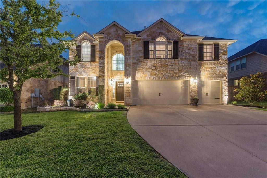 Are you ready for summer fun? This beautiful 2-story home in prestigious Teravista will be the one for you! A spectacular outdoor living space with everything you need - built-in pool & hot tub with ample decking-surround, covered & open patios & built-in bbq/grill center, recessed lighting & built-in speakers. UNFINISHED +/-250 SQFT ON THE SECOND LEVEL PERFECT FOR MEDIA ROOM. The interior is open and spacious with beautiful wood flooring throughout the main lower level. Walls of windows bring in tons of natural light. Many design features - crown molding, chair rails, pendant lighting, limestone fireplace surround & hearth, plantation shutters on lower level, two-tier staircase with wrought-iron railing. The home is finished in warm tones & soft cream finishes. Dedicated office in front and upstairs bonus area. Garage space? Yes!, 3-car garage is hard to find. Many smart home features including rachio 8 zone irrigation system with control from app, fully wired for security, keyless front door, ring doorbell and nest thermostat. JBL speakers in the Living Room, master bedroom and back patio. Teravista amenities include 3 pools, 2 fitness centers, walking trails, fishing ponds, on-site schools and more! Located close to shopping, HEB, major employers and hospitals.  Exemplary schools, local shopping & EZ access major highways.