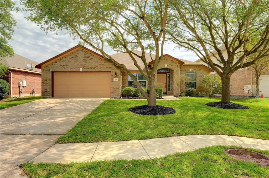 Fantastic floorplan in Pflugerville.  Ready for a new owner!  4 bedrooms + dedicated office. Lovely single-story home in a wonderful neighborhood.  The centrally located island-kitchen offers lots of cabinets, granite counters and a gas cooktop.  The kitchen opens to the light and bright breakfast area and family room with a corner fireplace.  Spacious master with dual vanities, soak-tub and separate shower. Generously sized secondary bedrooms.  Plenty of room in the backyard for kiddos and or pets to play.  Great neighborhood with community pool and lake access.
