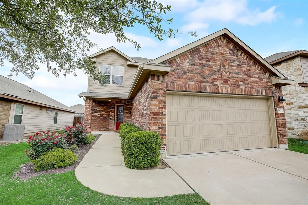 Built in 2012, this Leander two-story home offers granite countertops, and a two-car garage.