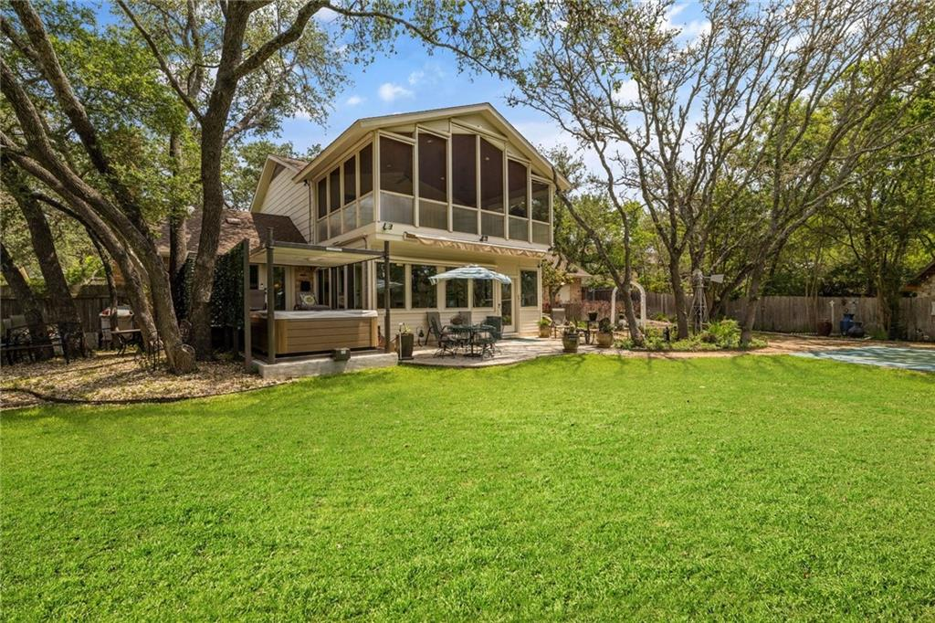 """HUGE SPA, SPORT COURT, BEAUTIFUL YARD (.391 ACRE), ELEVATED SCREEN ROOM, SUN ROOM (w/Automated Shades) & DUAL MASTER SUITE POSSIBILITIES (1 Main w/Fireplace & 1 Up) - Perfect for Multi-Generational Living Options! Or, Master Down could be a Large Family Room as currently staged! PLUS 3 Additional BR's & BONUS ROOM UP for 4 LIVING AREAS!  Large Flagstone Patio + Recent Wooden Deck off Master offers Great Outdoor Living w/WATERFALL POND, GAZEBO, DECORATIVE """"WELL"""" WATER FEATURE, GARDEN SHED & MORE! Beautiful Remodeling over the years, PLANTATION SHUTTERS, HARDWOOD FLOORS, GORGEOUS CROWN MOLDING, GRANITE, LANDSCAPING, GARAGE FEATURES FLOOR COATING WITH CABINETRY SURROUNDING WALLS w/incredible Storage throughout! A Great Place to Entertain in a Perfect NW Austin Location near GREAT SCHOOLS -- acclaimed Westwood HS, Canyon Vista MS, Spicewood Elementary! Approximately 13 Minutes to Apple Campus Austin/15 Mins to Domain or FC Stadium!  See Special Features Flyer, Full Matterport Walkthrough & Slideshow Video!  Don't Miss This One -- It's Rare & Wonderful!"""