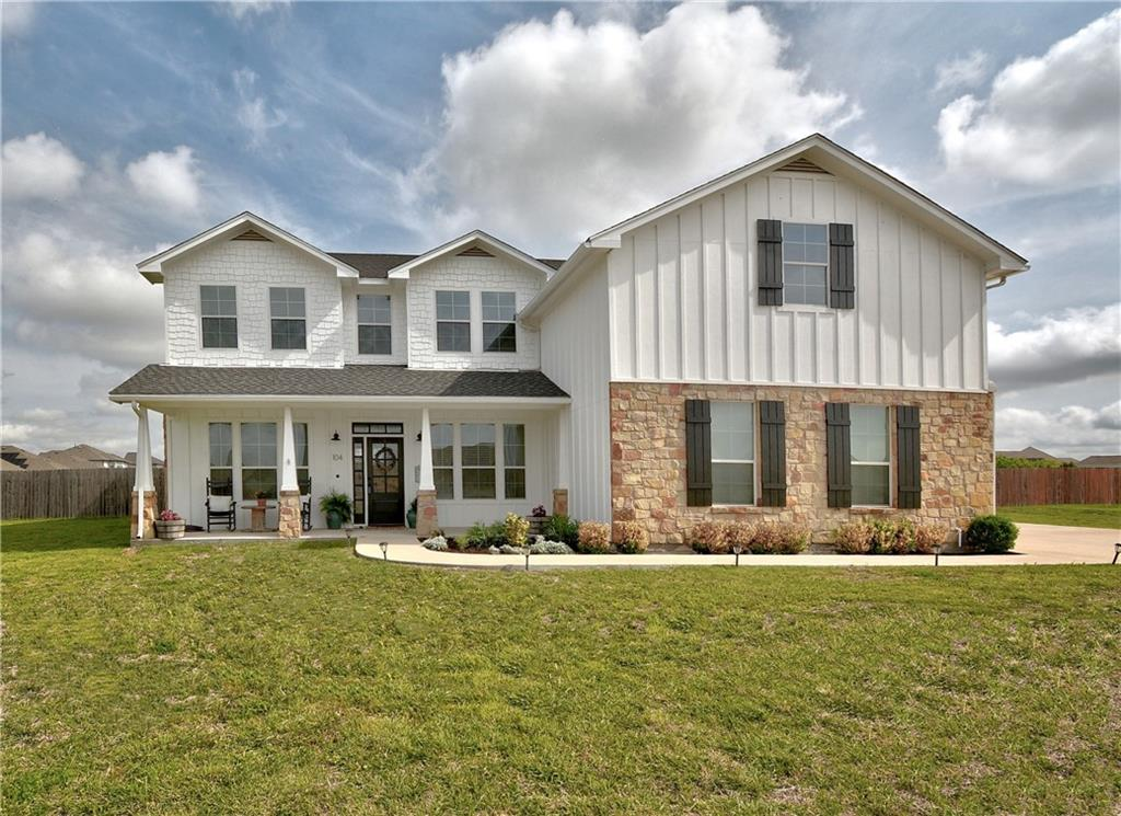 The one you've been waiting for! The epitome of modern country living in Hutto's ultra desirable Green Haven Ranch. The style and charm of this custom-built home and it's built-in unique touches translate even better in-person! Stunning kitchen with white shaker cabinetry, built-in stainless appliances, farm sink, white quartz counters and exposed plank shelving! Soaring shiplap and stone wrapped fireplace. This floorplan features 5 large bedrooms + a separate office. Primary bedroom features a fireplace, massive closet, vessel tub and subway tile shower and double vanity with adorable can compartments. Outdoor paradise on 1 acre with a custom-built playhouse with a loft and steel roof! MUST SEE! Built in shelving & cabinetry, incredible laundry room, sliding barn door, tons of storage, and packed with cute country touches throughout. Too many upgrades to list. Playhouse, garden beds, shed, and white playset all DO convey. *Jungle Gym and Chicken Coop DO NOT Convey. Will be removed prior to closing.*