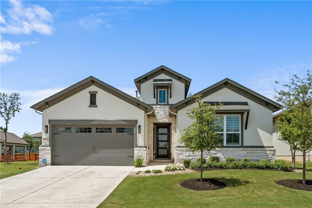 """Unbelievably upgraded and updated home shows better than a model. Enjoy """"lock and leave"""" convenience from this Sitterle built custom home located in the Garden section of the Highlands at Mayfield Ranch. Full front and rear lawn maintenance included. Smart Home Technology allows you to adjust your thermostat, lights and locks from your smartphone. WELL OVER $100,000. in amazing upgrades from the builder combined with the current owner. BRAND NEW Plantation Shutters, motorized silhouette blinds, frameless glass shower, carpet and pad, custom ceiling fans, epoxy garage floor, back door, etc.  Many items purchased from restoration hardware and was professionally designed.  Modern elegance w/ wood tile flooring & fabulous lighting. Extensive upgrades include 134 sq. ft of expanded footprint, 2 tank-less water heaters, 42"""" built in Jenn Air refrigerator, under counter beverage/wine refrigerator. Kitchen has quartz counters and double ovens for chef's delight. California closet designed in master ideal for organization. Master bath retreat has spa feel with gorgeous soaring ceilings. Millennial steel wall of glass opens to a beautiful dining courtyard. Outdoor living space includes wood burning fireplace and pre-plumbed for complete outdoor kitchen. Water purification system does not convey. SOME FURNISHINGS ARE NEGOTIABLE (not incl. in price) HOA includes landscaping, trash, pools & playground. Community amenities include hike and bike trails, soccer fields, tennis courts and fitness center. Georgetown ISD"""