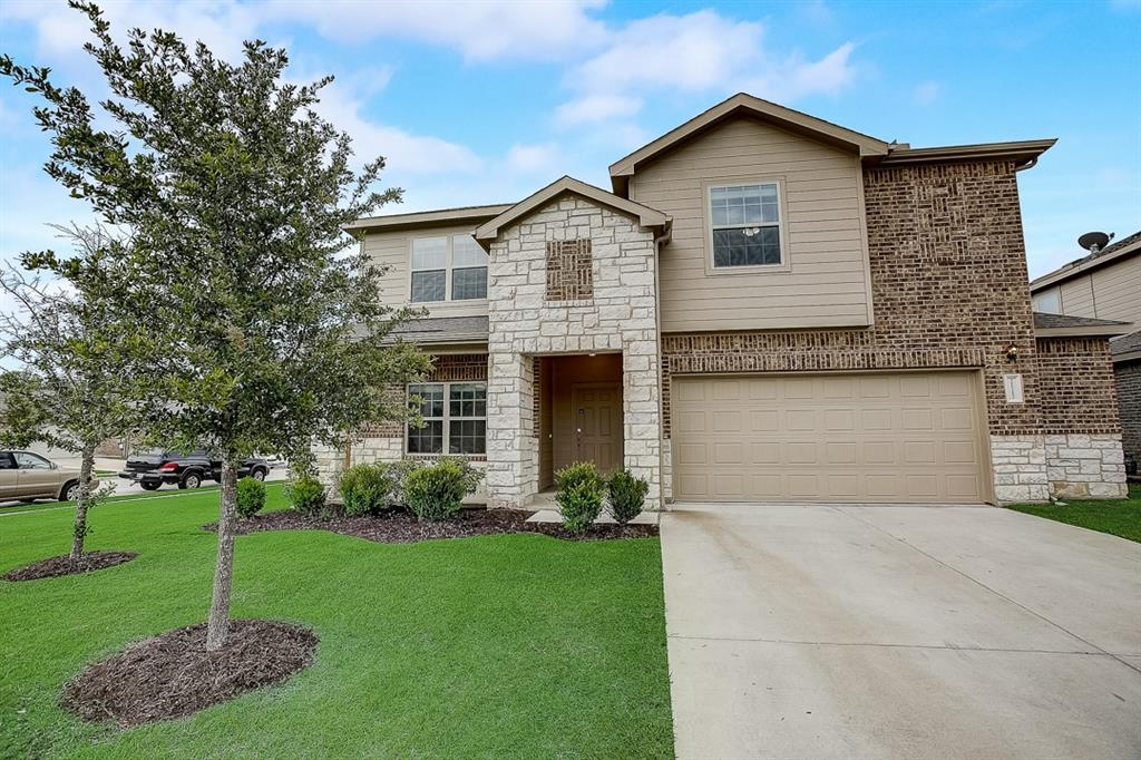 Built in 2017, this Pflugerville two-story cul-de-sac home offers granite countertops, and a two-car garage.