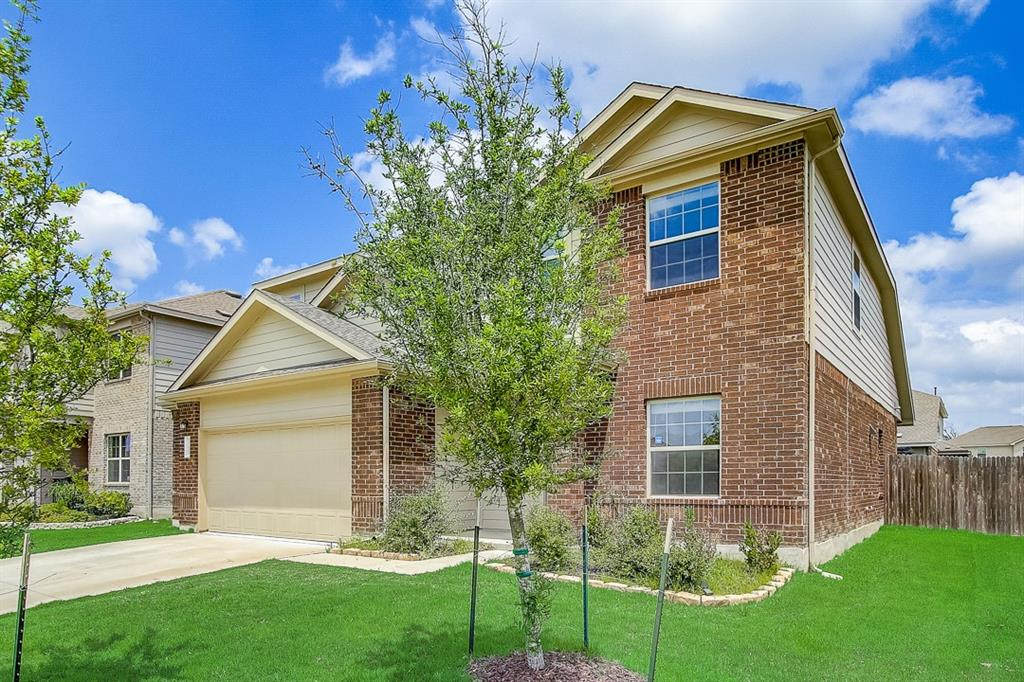 Built in 2017, this Pflugerville two-story cul-de-sac home offers a patio, granite countertops, and a two-car garage.