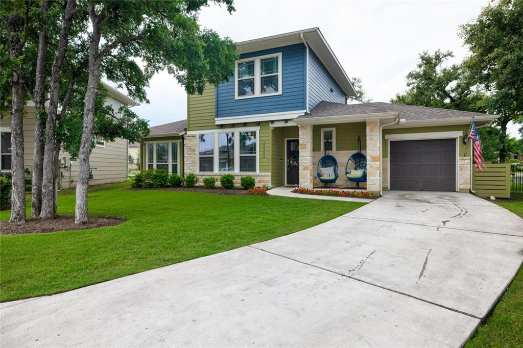 Welcome to this energy efficient home in the Northwoods at Avery Ranch!  This gated community offers Round Rock ISD schools, walking distance to light rail, an amazing amenity center with pool and playground (Northwoods at Avery Ranch), and easy access to the walking trails at brushy creek.    Built in 2017, this home has a fully fenced backyard.  Doggie door was added as well as upstairs shelving in the storage room. Attached garage with extra long driveway to fit multiple cars.    Open concept kitchen and living room with high ceilings, granite countertops, and a beautiful center island.  Gas cooking range, gas and electric dryer hook up, and E-Star appliances make this home a perfect fit for our energy conserving buyers! Tankless hot water heater was replaced after the freeze.   Dining room and living room furniture negotiable.  Front porch seats negotiable as well.   Master on main with walk-in closet, dual vanities, and super shower.  2 bedrooms located upstairs with a shared bathroom.  Guest half bath downstairs.    HOA maintenance includes weekly lawn service, quarterly fertilizing, mulching, and weed treatment.  Possible Seller lease back.   Buyer to verify schools, taxes, and measurements.  Easy access to Palmer Lane, 183, 45 and minutes to Mopac!