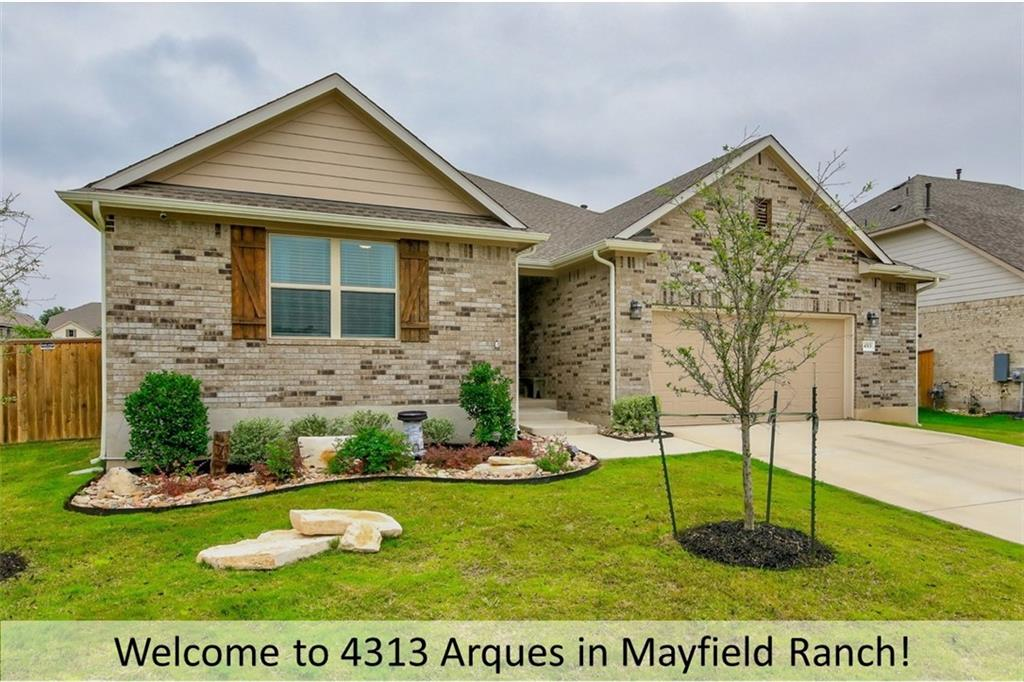 """Beautiful single-story, recently built home in the highly coveted community of Mayfield Ranch. The Harris floor plan by Ashton Woods features a lovely interior with many impressive features. The upgraded kitchen boasts modern, stainless steel appliances from KitchenAid including double convection ovens, a microwave, a 36"""" 5 burner gas cooktop, and a dishwasher. Granite countertops, bar seating, impressive 42"""" upper cabinetry, and pendant lighting above a convenient center island finish the kitchen aesthetic and create an incredible atmosphere. The secluded master bedroom and its walk-in closet are accentuated by a wood-accent wall and contain an en-suite bathroom with a double vanity and walk-in shower. Wood-look tile flooring gives the home a refined look throughout. Office or study from home in the private study/retreat with sliding barn door and large walk-in storage closet. All secondary bedrooms boast walk-in closets, and one bedroom has a private, en-suite bath. The spacious family room opens to the dining and kitchen areas providing plenty of opportunity for relaxation and a view into the lovely backyard, which is characterized by its extended covered patio and breathtaking pergola. Spend time lounging on the deck area while enjoying the privacy of your oversized lot. Plenty of storage and space to tinker in the 2.5 garage! Other features: upgraded entry door, full gutters, decorative moldings, upgraded carpeting, 5 panel interior doors, oil-rubbed bronze fixtures, upgraded baseboards and door moldings, granite countertops and elongated toilets in all baths, 2 hot water heaters and extensive, built-in storage shelves. Georgetown ISD - Wolf Ranch ES, Tippit MS, East View HS. Community Amenities: park and playground, green spaces and hike and bike trails, community pools and amenity center with event space and large covered patio."""