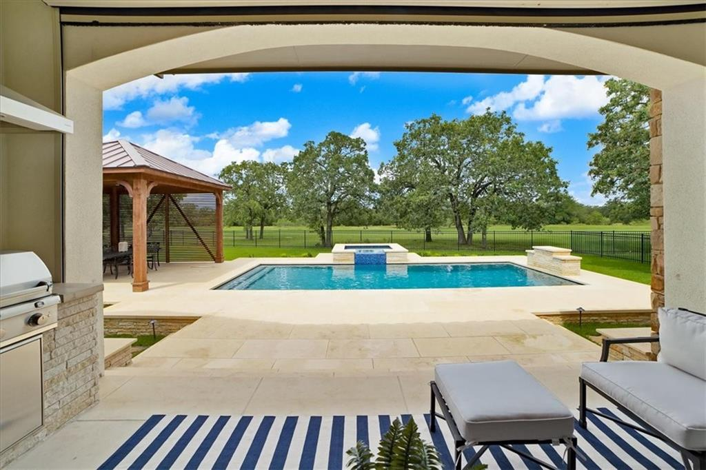OPEN HOUSE Saturday June 12th 1:30pm-4pm! Perfectly positioned on the 5th Hole of the Cimarron Hills golf course, with a brand new custom swimming pool, spa, and outdoor living space overlooking incredible sunset views. This gorgeous home was professionally designed and completely renovated in the past year, with no detail spared. Custom, luxury features and abundant natural light fill this spacious single story (see the detailed list of renovations). The entire home is professionally furnished and decorated, with the possibility of adding furniture, window coverings, and decorations, for a turn-key purchase. Cimarron Hills is a private golf and country club community located in the beautiful Texas Hill Country. Walk through this stunning home with a 3D tour here: https://my.matterport.com/show/?m=iz7aHp6ygZ7&mls=1