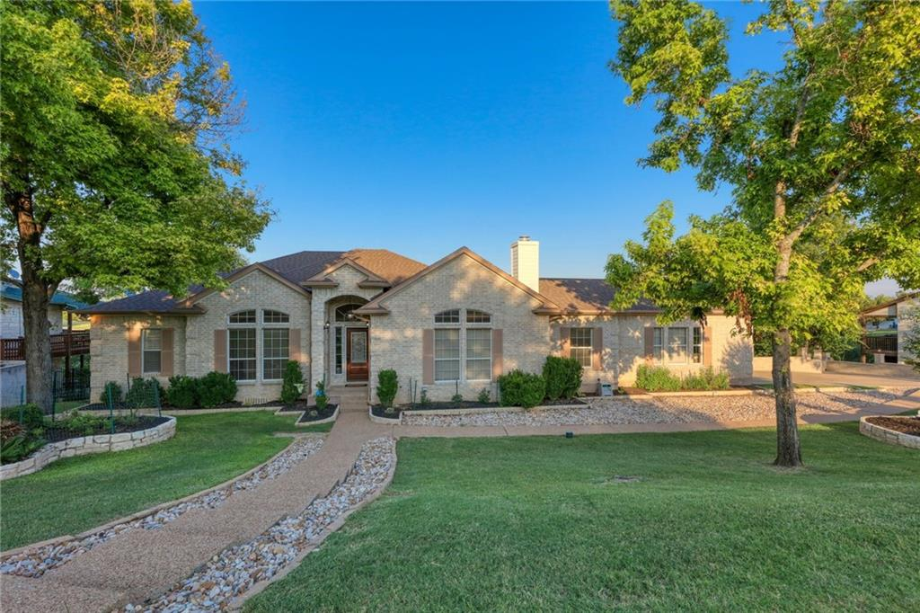 Exceptional home on the golf course! Almost 1/2 acre & backyard big enough for a pool overlooking amazing golf course views & beautiful hill country. Walk to the clubhouse that offers live music, games, restaurant/bar. Views are spectacular off back deck, whether you're enjoying watching golfers, a storm, or a sunset. A picturesque gazebo is tucked away in the corner underneath huge shade trees. Upon entry, mega-sized marble tile & wood floors make this home elegant: high ceilings, crown molding, & arched doorways. 2 rooms at the front offer formal sitting & dining but they can be used for so much more. Fireplaces in sitting room, main living room, & informal living room. Grand study with tray ceiling & wood-paneled walls: enjoy quietness & thought-provoking moments in this handsome space. Breathtaking views featured from kitchen, living, dining, & master. Open concept allows enjoyment in whatever activity is happening in the home or outside. Kitchen has been updated with painted cabinetry, new backsplash, & all appliances. Countertop is a beautiful black granite & looks fantastic against the new flooring & appliances. Beautiful French doors open into office & also master. Master suite is huge with enough space for sitting area, workout area, & TV. Tray ceilings & crown molding adorned the space- private access to back deck. Entire master bath has been remodeled with soaking tub, large walk-in shower & neutral pallet. Downstairs: Fireplace in game room/ informal living space. Off of that room is a special space for a library or game table or bunk room. Down the hallway are 2 guest bedrooms. 1 features an add'l room that can be used as a 2nd office, nursery or anything you can dream up. Storage in this home is incredible & even offers a basement/safe room. Utilities not forgotten: side entry driveway w/ parking for boats/RVs. Off garage is an oversized laundry room  with enough space for refrigerators & freezers, it even has a folding station & built-in sink.