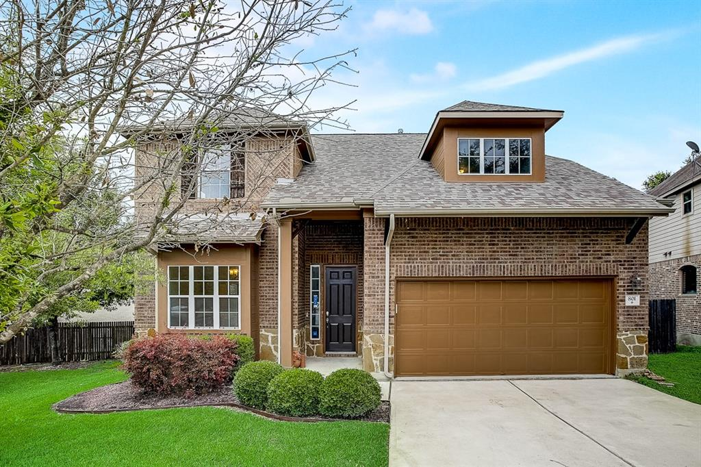 Built in 2012, this Round Rock two-story home offers granite countertops, and a two-car garage.