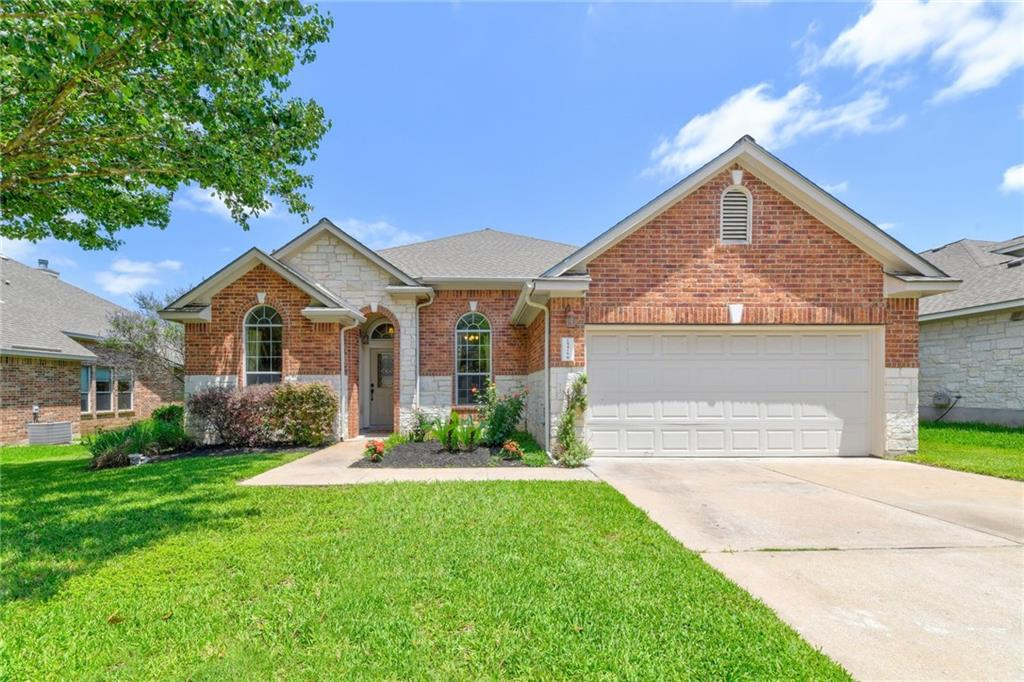 *Offer deadline Monday, 5pm* Beautiful Avery Ranch 1-story, 3 bedroom home sits on a large lot with mature trees. Located in the excellent Round Rock School district, England Elementary, Pearson Ranch Middle School, and McNeil High School.  Beyond the decorative front door is a foyer with a flex room that can be used for formal dining / formal living / playroom. You will see the dedicated office next of the foyer with French doors. The foyer extends under the archway into the living room and wrap-around breakfast bar. The stunning chef's kitchen features quartz countertops, tile backsplash, center island, and down-lights. A walk-in pantry has plenty of space.  The living room features large windows and a gorgeous fireplace. An open-concept floor plan lends to entertaining large gatherings or small groups.  In the owner's retreat where you will find ample space for relaxing and a beautiful boxed window. In addition to a walk-in shower and garden tub with mosaic accent tile, the en-suite bathroom provides a double vanity and white cabinetry. Keep cool on sunny days with ceiling fans in every bedroom. The next owner will also enjoy the new carpets installed throughout the home.  Retreat outdoors to relish your quiet evenings or host a lively gathering. The fully fenced yard has plenty of room for a playground, pool or elaborate garden. The property is minutes from the coming soon Apple campus and Dell Children's Hospital, nearest shopping and gourmet dining destinations, golf courses, an athletic complex and blocks from the Avery Ranch Morningside Main Amenity Center.