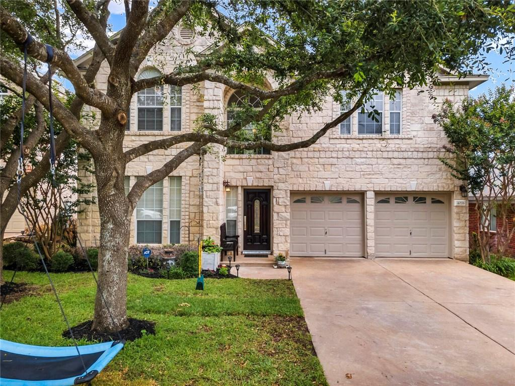 Backs to Greenbelt!  Relax with nature right outside your backdoor.  Backyard has a private access gate to greenbelt and trails.  Spacious and updated, including two new HVAC units (03/2021), new cedar back fence & new carpet (06/2021), plus more!  This home has 4BR, 2 1/2 BA, a dedicated office downstairs and a game room upstairs!  Open concept living on main floor.  Primary bedroom suite includes large primary bathroom with separate tub and shower and a roomy walk-in closet.  Separate laundry room.  Loads of storage throughout. Mature trees and large back patio. Minutes to FM 620!  Lovely community parks, pools, sports fields and community center.