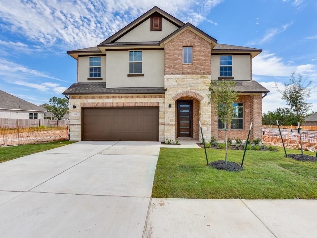 """READY IN SEPT - Model-inspired """"Grant"""" home with contemporary finishes, 8' interior doors. Home features include: private study, walk-in pantry, extended covered patio, open chef kitchen with built-in stainless appliances and large island. Grand master suite with relaxing freestanding tub, spacious walk-in shower and door to the utility from master closet. Upstairs features 4 generously sized secondary bedrooms all with walk-in closets, 2 additional baths plus a gameroom. Home also includes full sod and irrigation, gas stub on patio and is pre-plumb for water softener. Low tax rate, zoned to Leander ISD."""