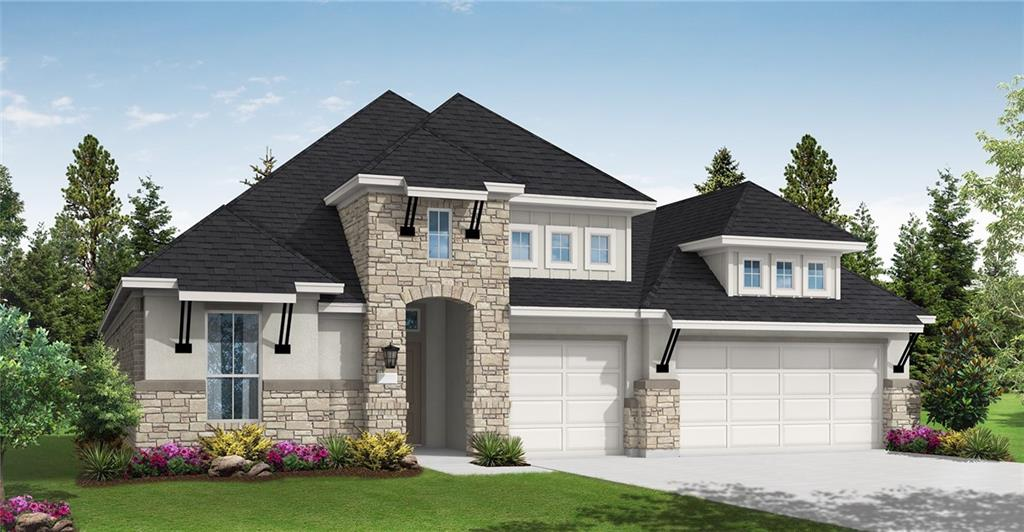 Grand Home with 4 Bedrooms, 3 Baths and 3 Car Garage. Outdoor covered patio backs to green belt. Double oven, 6 burner cooktop and working pantry. White cabinets. White Atlas granite kitchen K-tops. Completion estimated to be early fall.