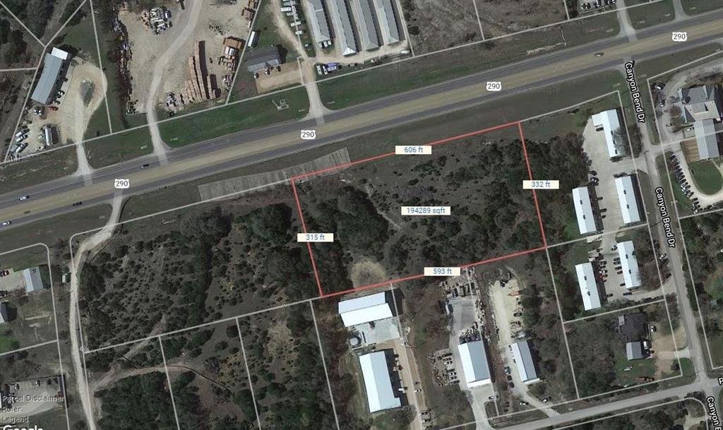 4.43 acres of undeveloped land on U.S. Highway 290 in Hays County east of Dripping Springs. Adjacent to 1032 and 1034 Canyon Bend Drive. The property has good frontage and visibility along Hwy 290 and in a section zoned for commercial development (no residential allowed). Neighboring businesses are well-established, long-term operations. This property is located within the Dripping Springs ETJ.