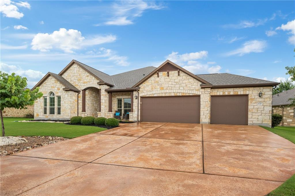 """West facing 1-story, 3-car garage home located in the exclusive, gated, golf-course community of Crystal Falls!  Area amenity features include two swimming pools, a golf course, parks, hike and bike trails and acclaimed schools. This Grand Haven built home with """"original owners"""" is a showstopper! 4 bedrooms, 3 ½ baths, 2 living and 2 dining or a bonus/flex room means this versatile plan meets many buyer's needs. The interior is incredibly spacious and features a gourmet kitchen open to the living area! New dishwasher installed 7/22/2021. The family room is a perfect place for relaxing and entertaining with lots of windows, a linear custom-built fireplace, wired for surround sound with wall and ceiling speakers installed, and a custom painted tray ceiling.  Note the numerous arches, extensive wood flooring and the custom designed tile throughout the home! Spacious primary suite offers a soaking tub, separate shower, dual vanities with lots of storage, an extra-large closet and a """"bonus room"""" to make yours off the master bedroom! 1st secondary bedroom has its own private bathroom with a large shower and a generously sized walk-in closet. The 2nd & 3rd bedrooms share a Jack-and-Jill bath! If you need a separate dedicated office space, this home has a private office with French doors and windows for natural light! Additionally, the home is hard-wired for internet. Easy access to 183, 183A toll, shopping, and restaurants! Leander ISD schools!!!"""
