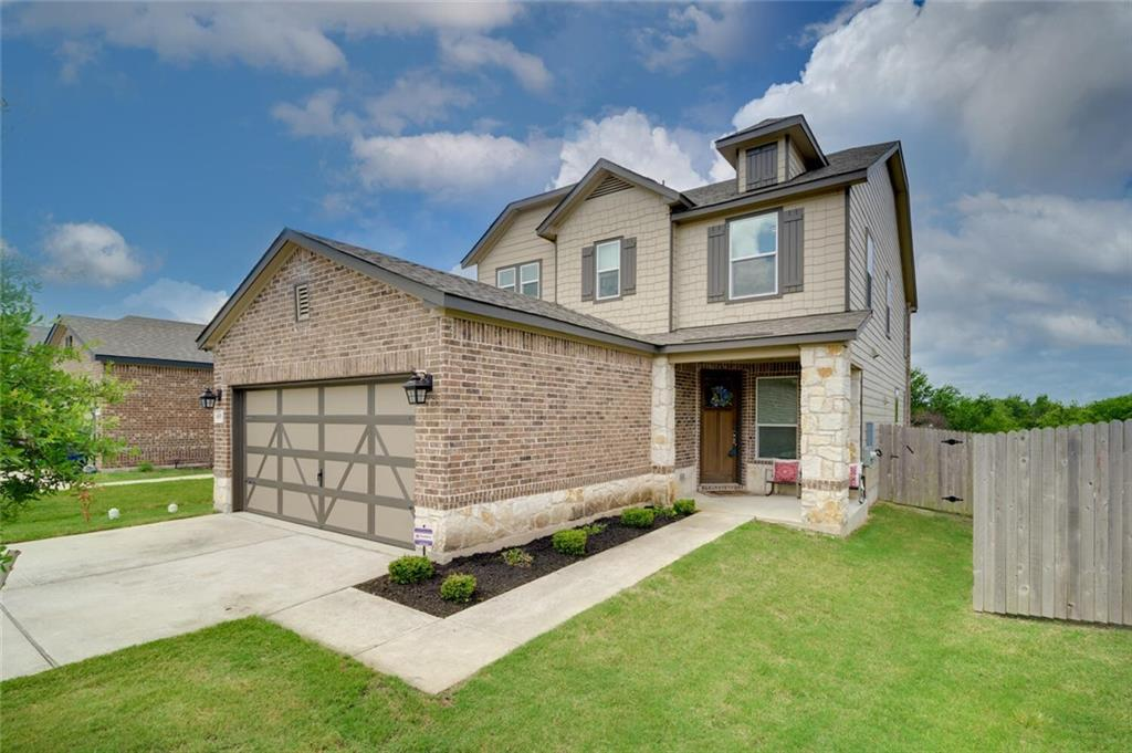 This exceptional 2018 built KB home offers the ultimate in high-end finishes and amenities. From the impressive drive-up with a brick and stone facade, manicured landscaping, and large front porch, to the premium lot which backs to a permanent greenbelt, this meticulously maintained home won't last long! TONS OF ENERGY-EFFICIENT FEATURES including LED lighting, energy-efficient insulation and HVAC, and reflective Argon gas double pane windows with reflective coating. The brilliant floor-plan features a dramatic foyer and an open kitchen, dining, and living area that allows for perfect entertaining opportunities. The chef's kitchen is perfect for those who love to entertain and showcase their culinary skills! This impressive space features stainless steel appliances, an abundance of cabinetry, pendant lighting, bar seating, and upgraded quartz counters, tile backsplash, and hardware. A wood-burning fireplace with floor-to-ceiling stone and views of the manicured grounds highlight the family room beautifully. The expansive homeowner's suite features room for a sitting area, dual sinks, a garden tub, a walk-in shower, and a large walk-in closet. Additional spaces include a half bath and a bonus room, perfect for a 4th bedroom, home office or media room downstairs, and a game room, two additional bedrooms, and an additional bathroom upstairs. The superb location offers views of the greenbelt from the massive backyard which is equipped with a large covered patio. Additional amenities include a built-in sound system that extends to the garage and patio, upgraded quartz countertops in the bathrooms, updated fixtures, 9' ceilings, and so much more! The fantastic location allows for quick access to IH 35 and Mopac and is roughly 15 minutes from The Domain and tons of shopping and dining! The features and amenities in this property are endless! Be inspired, live lavishly, and make 605 Thrasher Glade Drive your next home!