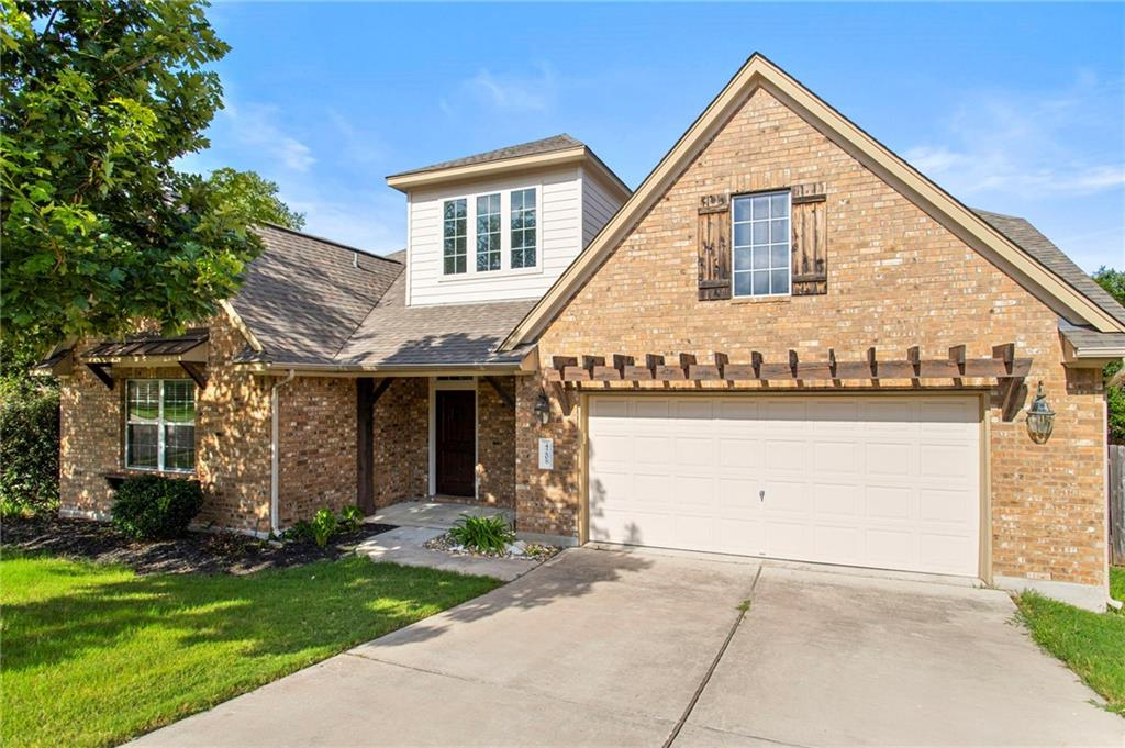 Stunning home in Cedar Park! This corner lot boasts easy access to Austin and allows you to live in one of the most desirable cities in Central Texas! Walk into a tastefully tiled main floor and experience a welcoming entry hall with high ceilings, an open floorplan, and a view of your future back porch. The living room allows for easy access between all of the main rooms, with a fireplace thoughtfully placed in the corner of the room. The kitchen has a delightful breakfast nook and is well arranged for anyone who loves to cook. The spacious primary bedroom on the main floor is complemented by an exquisite primary bathroom with a walk-in closet and windows that brighten up the whole suite. The secondary bedrooms are completed with en-suite bathrooms and are easily accessible on the main floor as well. The interior of the house is completed with a media room upstairs, which boasts ample space for entertaining when it is too hot to enjoy the back porch and the backyard. Come tour this house before it's gone!