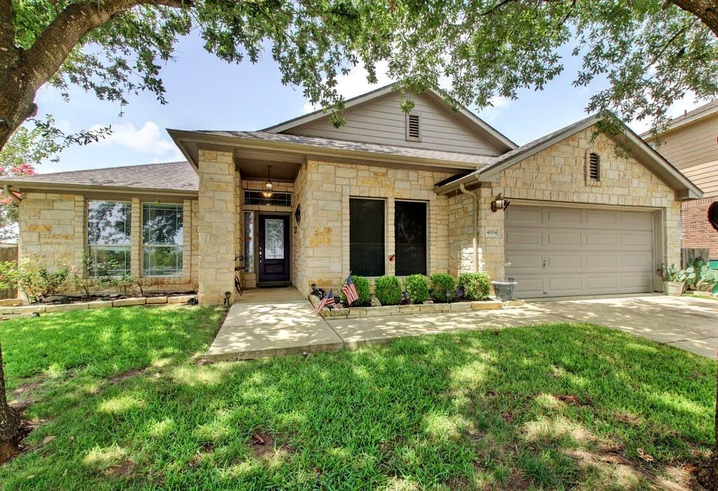 This beautiful home is so close to Lake Pflugerville, you can see it right out the front window! Enjoy a well cared for home which features 4 bedrooms, a flex space,  2 bathrooms, and a sparkling pool. The kitchen area is open to the family room and has a gorgeous stone-like cove above the range for a unique feel. It doesn't matter if you are enjoying the large outdoor space or the open living/kitchen area it's all a great opportunity to entertain, and truly plenty of space to do it. Feel right at home at this Pflugerville Gem!