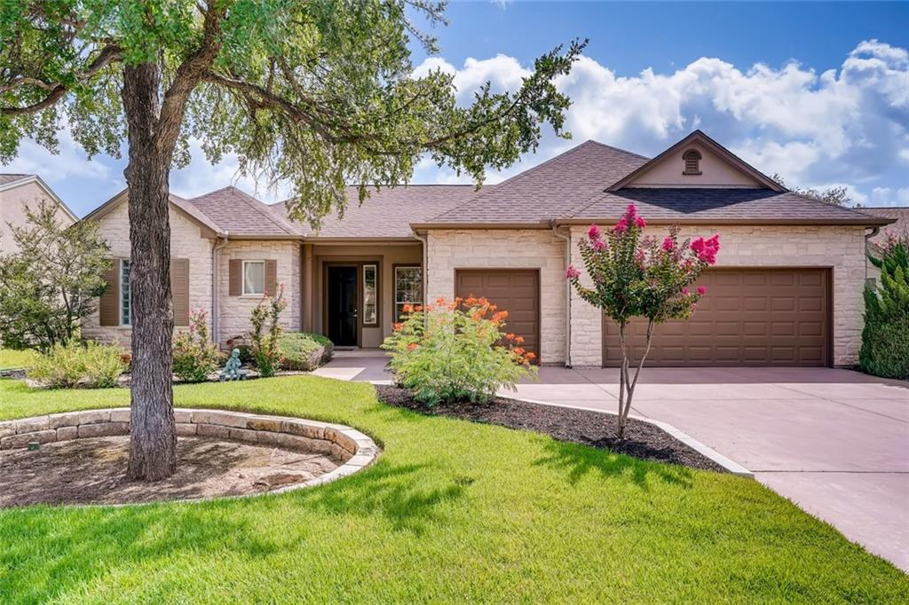 This lovely well maintained Travis Floorplan is on the White Wing golf course with views of golf course ,greenbelt and wildlife.  The back yard is very private and faces East. Morning sun in the back of the home.Home has lovely wood flooring throughout with carpet in bedrooms and tile in bathrooms.  There is a 2 car garage with golf cart garage and lots of storage inside the home and in garage.  There is a screened in back patio with an exterior patio for grilling. The seller was an advid reader, so plenty of space for quiet reading in front of the fireplace or in living room. Built in shelves for storing all the books and also space for all your treasured items. Home sale is complete with washer, dryer and refrigerator in kitchen and also refrigerator in garage. Piano is available for sale. Roof replaced March 2021.