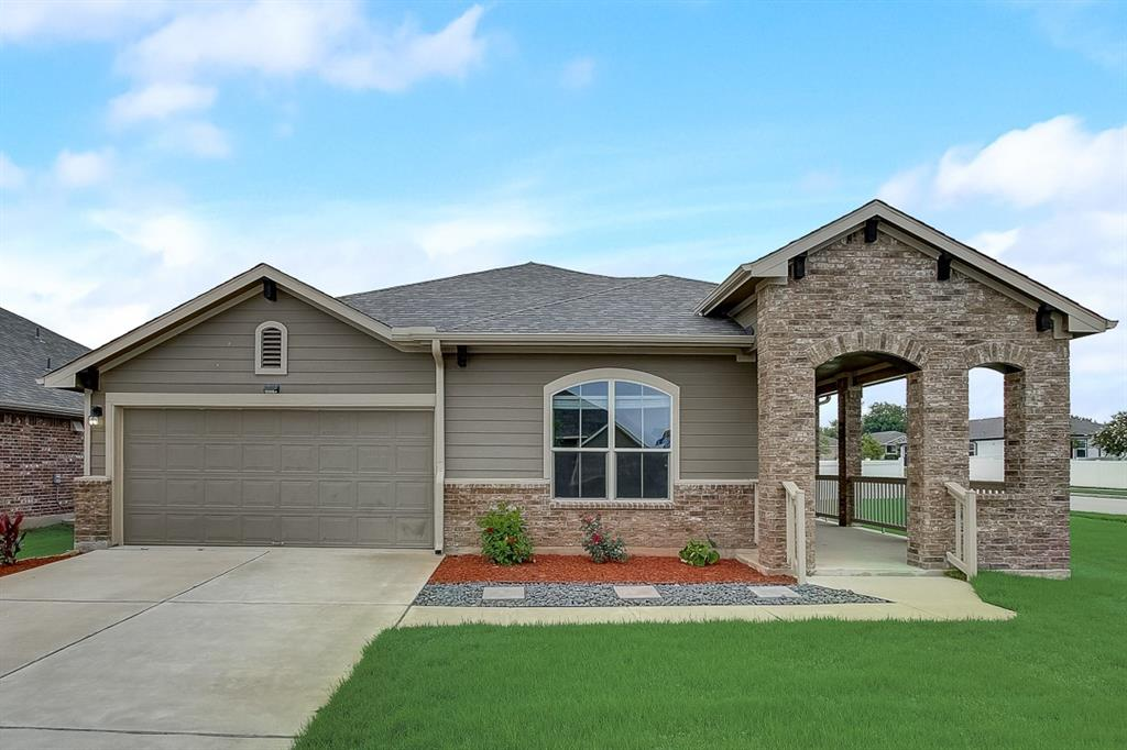 Built in 2016, this Pflugerville one-story cul-de-sac home offers a patio, granite countertops, and a two-car garage.