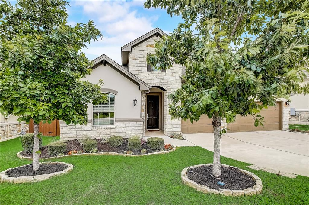 Pride of ownership shows throughout this immaculate two-story home in highly sought-after Vizcaya in Round Rock! The excellent location right across from the pool and amenity center will make you eager to explore this fabulous 4-bedroom home which offers a contemporary open floor plan perfect for today's lifestyle! You'll love the abundant natural light that shines through the large open living spaces, the high ceilings, wood floors, modern color scheme, tall doors and custom finishes throughout. Designed with entertaining in mind, the Chef style kitchen with a huge center island and breakfast area opens to the family room. Complete with a double-vanity bath, separate shower and large walk-in closet, the master suite on the main floor is a perfect retreat. Second master/junior suite on main floor as well as 4th bedroom that could potentially be a 4th bedroom down. Enjoy the privacy of the upstairs area with its own heating and cooling system, media room, bonus/flex room, and a single bedroom with an attached full bath and walk-in closet and access to a private balcony - perfect for guests or an adult resident who needs their own space. Alfresco dining is a delight in the downstairs patio area with gas piping in place. The oversized three-car attached garage and dedicated laundry room provide extra space for all your activities and projects.  The lovely neighborhood boasts miles of hike and bike trails, community pool, pavilion parks and beautiful landscaping. Zoned to award-winning Round Rock ISD schools. Located minutes from various shops and restaurants, banks, parks, HEB, Baylor Scott and White Medical Center, this beautiful home is convenient to everything. Don't miss it! Visit https://bit.ly/2619MazaroTour for a video tour.