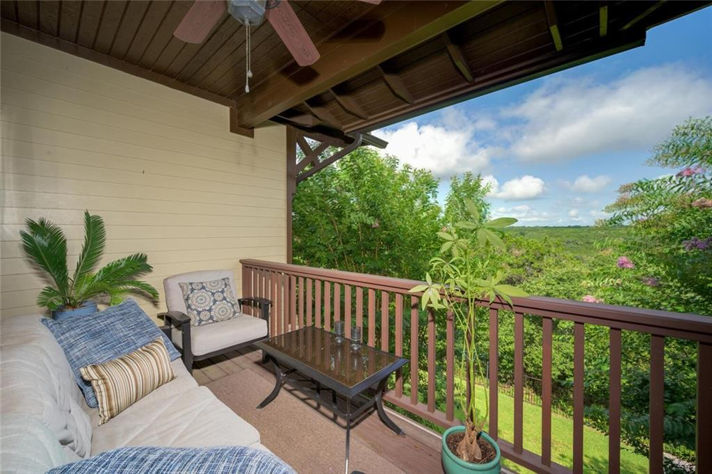 Million-dollar views! Enjoy the sunset or a morning cup of coffee on one of your balconies overlooking Balcones Canyonlands Preserve. This easy maintenance 2 bedrooms 3 bath condo has wood floors, granite countertops, fireplace and attached 2-car garage. Live in this highly desired Twin Creeks community with the golf course, clubhouse with dining and seasonal events, walking trails, water park featuring a junior Olympic-sized pool and zero-entry resort-style pool. Lake Travis is just minutes away, and major highways 183 and Toll 45 are easily accessible. HOA maintains the exterior and its insurance (new roof coming at the end of July 2021), both balconies and landscaping.