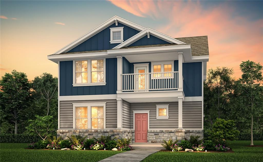 """2-stories; 3 Bedrooms, 2.5 Bathrooms, 2-Bay, detached alley-load garage. Flex room down. All bedrooms up. Kitchen features 42"""" white cabinets, gray subway tile backsplash and white quartz countertops, including upgrades like under cabinet lighting and USB port. Upgraded to include covered back patio. Other upgrades include: upgraded Mahogany front door, 2nd sink at vanity in the primary bath, extended tile plank flooring in all common areas on first floor, 2"""" white faux wood blinds throughout and more. Llano plan, elevation C"""
