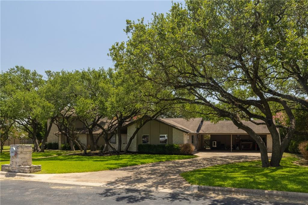Unique MULTI-GEN property with TWO HOME office nestled in gorgeous sprawling oaks on nearly 1/2 an acre! Just a short walk to the N. San Gabriel River Trail in a quiet and relaxing neighborhood. This home has so many amazing features! Designated office under the same roof but has it's own entrance! Main home boasts recently installed wood-look luxury vinyl throughout. Granite and double ovens in kitchen, laundry and pantry, breakfast area with bay window. Vaulted ceilings with wood beams in living and a wall of windows looking out to a captivating patio and lawn. Second office with built-ins and bedroom on the same hall with full bath. Completely remodeled down to studs owner's suite with walk-in shower and walk-in closet!  Separate guest suite includes full kitchen, living, half-bath with laundry room- down, 2 bedrooms and a full bath- up! Guest quarters are connected through the hallway, but totally separate from the main house. Many updates include guest kitchen, all new flooring, living and owner's suite windows, 2-HVACS, hot water heater, owner's suite! Captivating back yard with extensive patio. 1/2 bath for outside guests. Outdoor storage galore! Fire pit and large trees. Private RV parking on separate drive behind gate. New shingles coming soon! (NOTE: Painting still in progress)