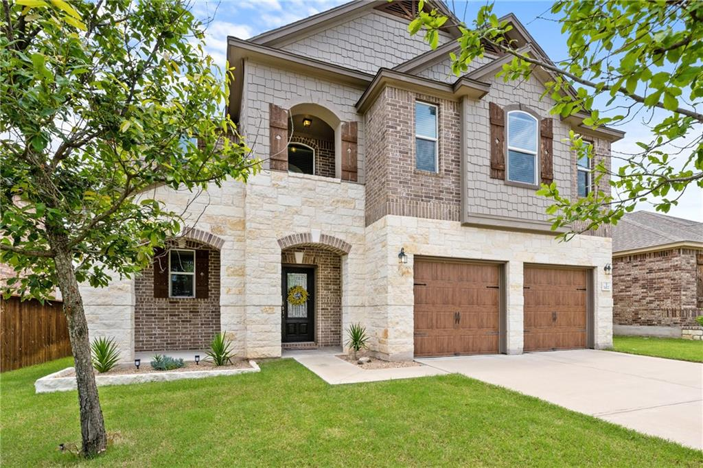 Just listed! This pristine two story home in Leander's highly sought after neighborhood of Mason Hills will not last long. This beautiful home features 3 bedrooms, 3 bathrooms, and sits on a quiet street surrounded with mature trees. Enjoy the large open floor plan with walls of windows for an abundance of natural light, luxury wood flooring throughout, crown molding, SS appliances, recessed lighting in main rooms throughout the home, tasteful paint colors, and many other thoughtful upgrades. The backyard features a covered back patio and an abundance of space. Located just minutes from the community amenities which include a community pool, playground, walking trails, and basketball courts. Close to shopping, dining, and entertainment including Crystal Falls public golf course. Zoned for the highly acclaimed Leander ISD. You won't want to miss this stunning home in one of Leander's best communities. Welcome home!