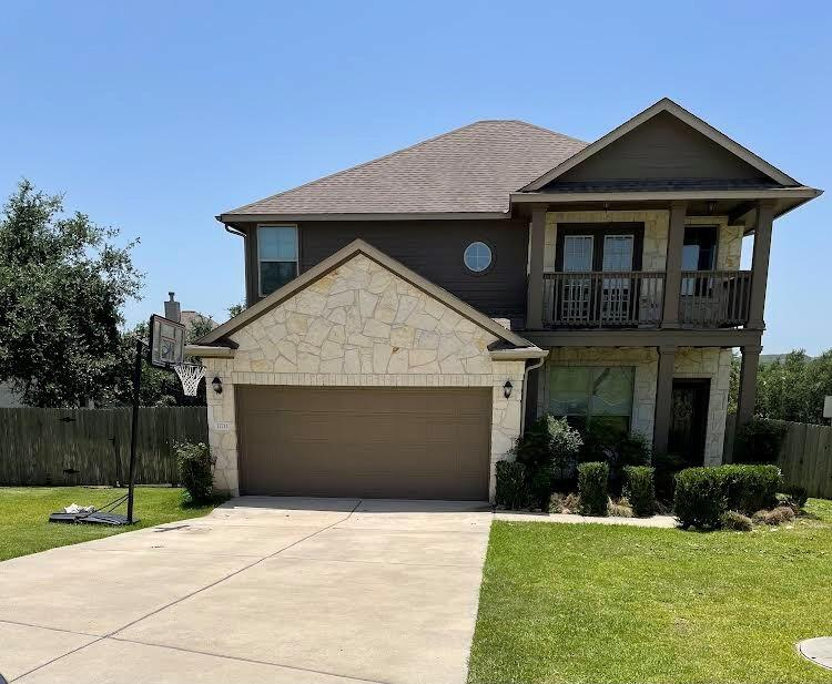 Corner lot, balcony. Tile and hardwoods on the first floor. Dedicated office with French doors. Granite counters and stainless appliances. 2 living areas. Lake Travis ISD. Low tax rate and Hoa fee. Popular community. Approx 10 minutes to Bee Cave or Dripping Springs.